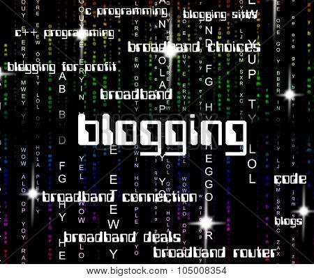 Blogging Word Shows Online Websites And Web
