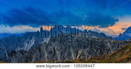 Cadini di Misurina range in National Park Tre Cime di Lavaredo. Dolomites, South Tyrol. Location Auronzo, Italy, Europe - sunset, panorama.