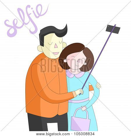 selfie photo illustration vector