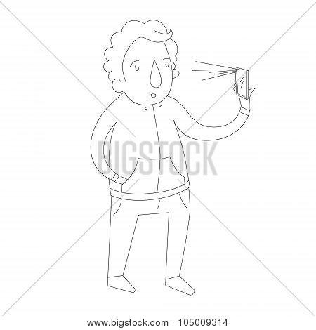 selfie man photo illustration vector
