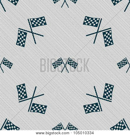 Race Flag Finish Icon Sign. Seamless Pattern With Geometric Texture. Vector