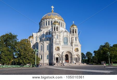 Kronstadt Naval Cathedral Of Saint Nicholas In Summer Sunny Day
