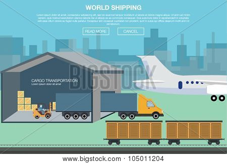 Cargo transportation by road and train. Workers loading and unloading trucks and rail car with forklifts. Logistic concept transport delivery services. vector illustration