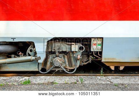 Modern train detail. Wheel axle from the wagon