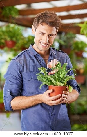 Smiling man holding pot with gerbera flower in a garden center