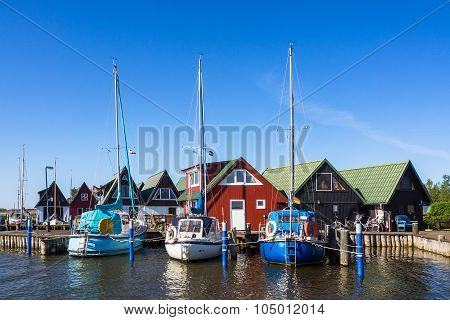 Boathouses And Sailing Ships In Ahrenshoop