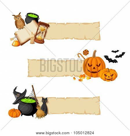 Halloween magic web banners. Vector eps-10.
