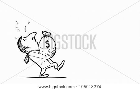 Caricature of funny man carrying money bag on white background