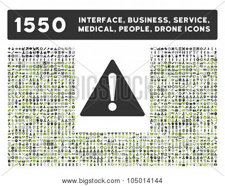 Warning Icon And More Interface, Business, Tools, People, Medical, Awards Flat Glyph Icon Collection