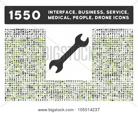 Wrench Icon And More Interface, Business, Tools, People, Medical, Awards Flat Glyph Icons