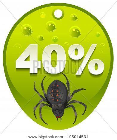 Halloween discount coupon 40 percent. Halloween spider label sale