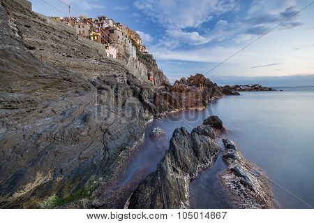 Rocky cliff in Manarola
