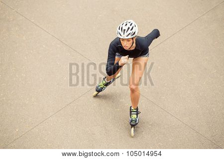 Roller skater working out