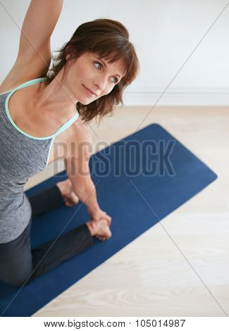 Fitness Woman Doing Yoga - Ustrasana Pose