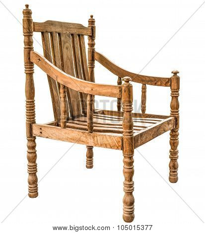 old and vintage style wooden armchair made from Siamese Rosewood or Thailand Rosewood or Dalbergia cochinchinensis Pierre wood isolated on white background