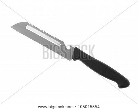 close up versatile stainless steel kitchen knife paring knife bottle opener in black handle isolated on white background