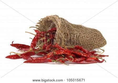 Dried Hot Red Chillies In A Sack On White Backgroud