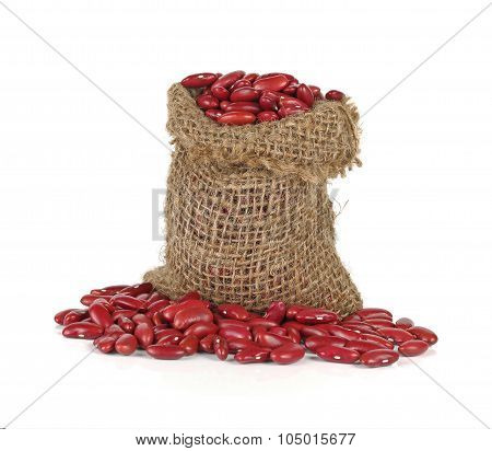 Red Kidney Bean In Gunny Bag On White Background