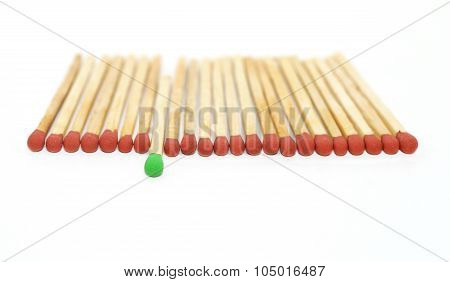 One Matchstick Standing Out From Other