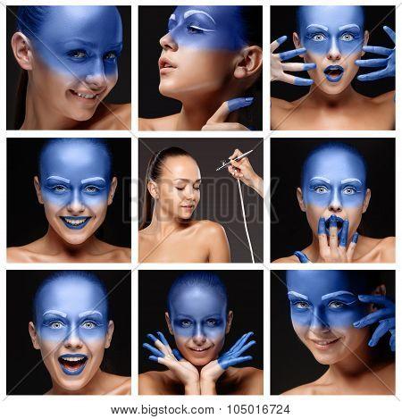 visagist making makeup l with aerograph or airbrush.  collage