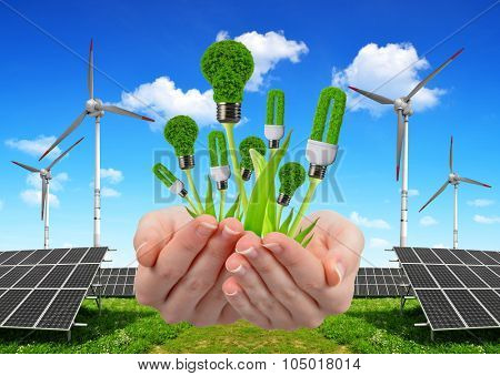 Hand holding eco lightbulbs. In the background solar energy panels and wind turbine. Clean energy concept.