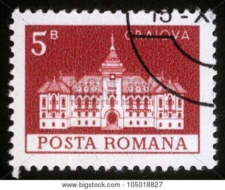 ROMANIA - CIRCA 1973: A stamp printed in Romania shows City Hall, Craiova, circa 1973