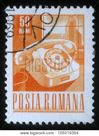 ROMANIA - CIRCA 1968: A stamp printed in Romania shows old Telephone, circa 1968