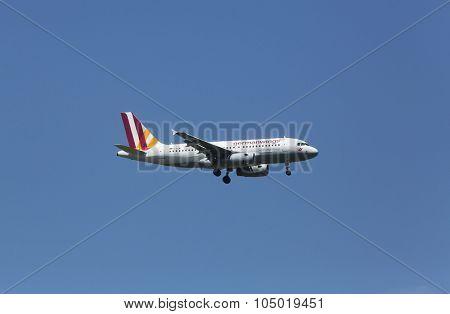 ZAGREB, CROATIA - JUNE 10: Airbus A319, registration D-AGWF of Germanwings landing on Zagreb Airport Pleso on June 10, 2015.