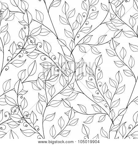 Vector Seamless Contour Floral Pattern