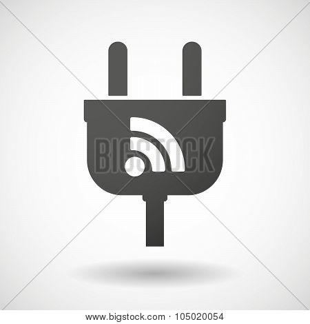 Isolated Plug Icon With An Rss Sign