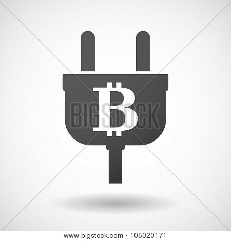 Isolated Plug Icon With A Bit Coin Sign