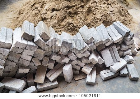 Light Weight And Cheap Sand Bricks At Construction Site