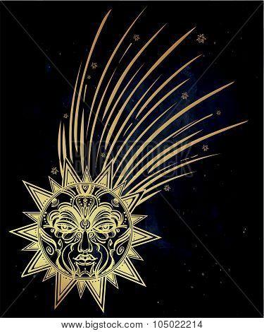 Vintage comet symbol illustration.