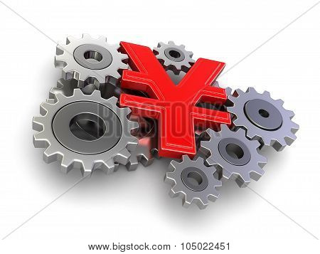 Cogwheel Yen (clipping path included)