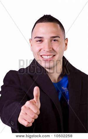 Handsome Hispanic Businessman Giving The Thumbs Up