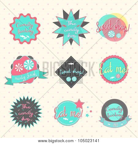 Candy labels pastry shop vector illustration