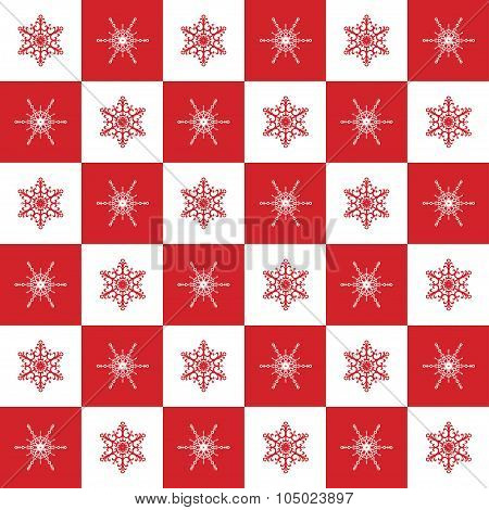 Pattern Snowflakes Red Chess