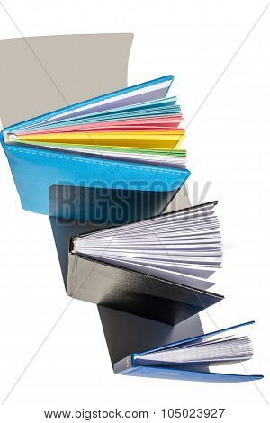 three different notebook isolated, top view