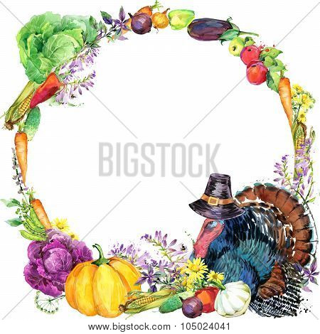 Happy Thanksgiving Day background with turkey,  hat for Thanksgiving, vegetables, fruits and flowers
