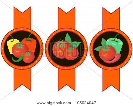 Vegetables ketchup sauce label vector illustration