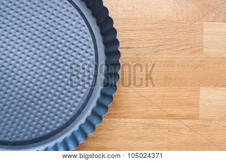 Round Cake Pan (tin, Mould). Isolated  On Wooden Background