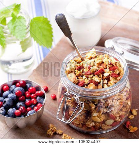 Healthy breakfast. Granola with berries, yogurt