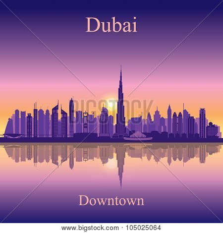 Dubai Downtown City Skyline Silhouette Background