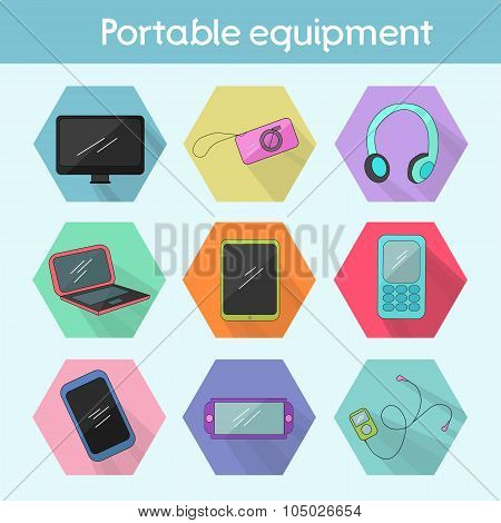 Gadget modern flat icon color vector illustration