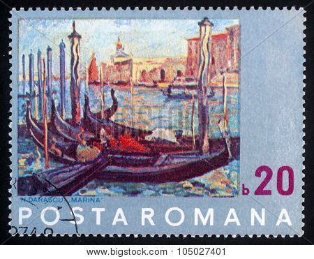 ROMANIA - CIRCA 1972: a 20 bani stamp from Romania shows painting of Venice by N. Darascu, circa 1972