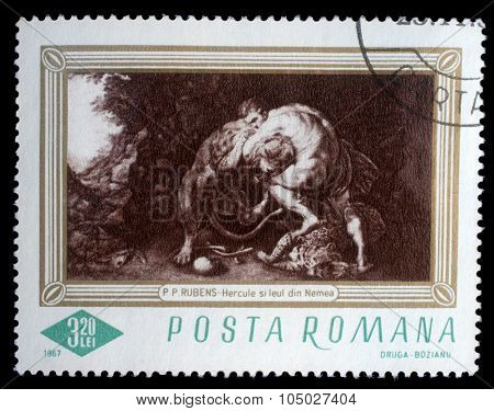 ROMANIA - CIRCA 1967: A stamp printed in Romania shows Hercules and the Lion of Numea, by Rubens, circa 1967