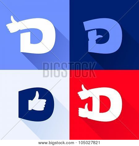 D Letter With Thumb Up Set.