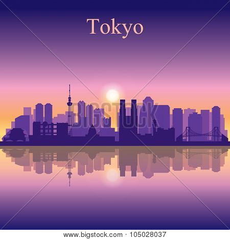 Tokyo City Skyline Silhouette Background
