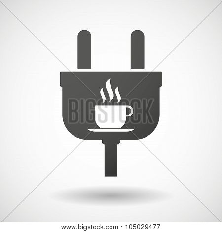 Isolated Plug Icon With A Cup Of Coffee