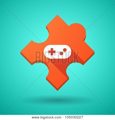 Long Shadow Puzzle Icon With A Game Pad